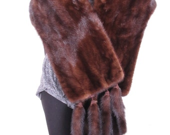 Beautiful Sable Mink Tail Stole Art Deco Detatchable Drapped Silk Lining Mink  Bolero Waist Length Jacket Coat Cape Shawl
