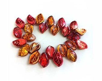 Fall Leaves Beads Glass Czech Red Copper Bronze Reflective Gorgeous Autumn