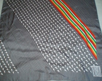 Vintage Designer Bill Blass Charcoal Grey, Rainbow Stripe and Arrow Silk Scarf