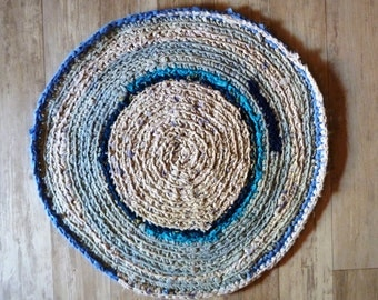 Crochet Rug. Shabby chic decor recycled materials