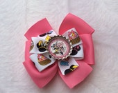 MINNIE bottle cap ribbon bow on fully lined clips RTS