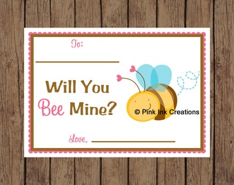Printable Valentine BEE MINE Bumblebee Kids Valentine Card - Instant Download