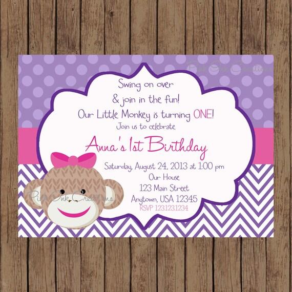 Purple sock monkey birthday invitation girl sock monkey invitation il570xn filmwisefo