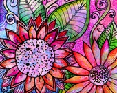 Flowers art print Fresh Cut  flowers archival print flowers art print  art print garden painting floral art print flowers art print