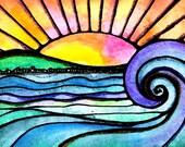 My Horizon ocean waves art print  sunset  sun sunset print sunset painting sun painting beach art beach rpint ocean print wave art