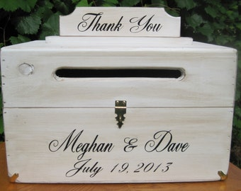 Wedding Card Box Rustic Chest Personalized Bride Groom Names And Date Custom Wood Country Shabby