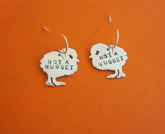 Mini Not a Nugget Chick Earrings-Recycled Sterling-Vegan Earrings-Gift-Birthday-Anniversary-Ethical-Farm Animal jewelry-Chicken earrings