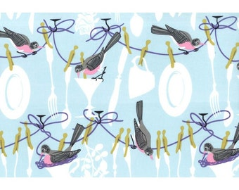 SALE - Don't Let The Birds Do Dishes - Fabric By Michael Miller - 1 Yard - 6.75 Dollars