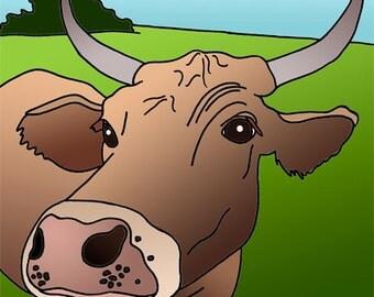Caramel the Cow print by Lisa Karen Ward