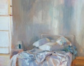 SALE Bed Bedroom Small Original Oil Painting, 16 x 16""