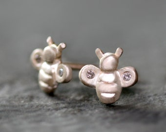 Tiny Bee Stud Earrings in Sterling Silver with Diamonds