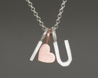 14K Heart Necklace with Two Sterling Silver Initials