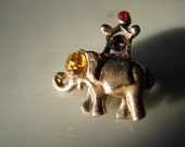 Tiny Bejeweled Elephant Brooch Pin Tie Tack