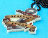 Old School Tattoo Anchor Necklace - Sailors Grave - Printed Laser Cut Pendant