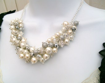 Set of 6 Ivory White and Silver Pearl Beaded Necklaces with Rhinestones, Bridal Jewelry, Cluster Necklace, Chunky Necklace, Bridesmaid Gift