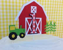 Farm Birthday Cake Topper - Red Barn Bash Theme - Any Age Cake topper - 1st birthday Party - Green and Yellow Tractor Cake Decorations