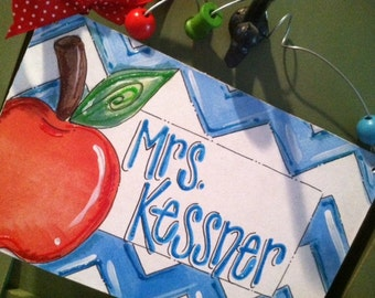 Hand personalized teacher chevron class sign turquoise and red