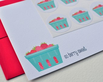 Strawberry Basket Farm-Fresh Personalized Stationery or Thank You Notecards with Stickers