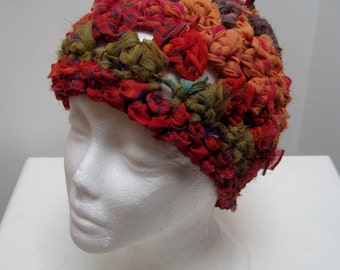 "multi colored crocheted hat, made from upcycled chiffon scraps ""kathmandu"""