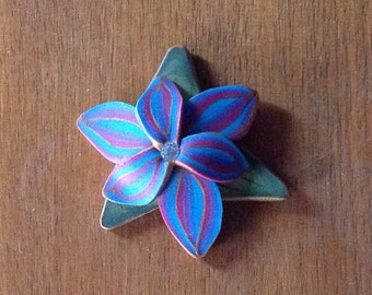 Rainbow Orchid - polymer clay-brooch