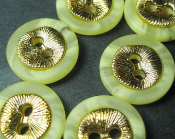 Vintage buttons cream plastic with gold metal disc x 6 YC131