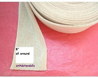 Doll's cotton tubing 1 yard for crafting inner doll's head, suitable for Waldorf dolls-for large heads- made in Israel