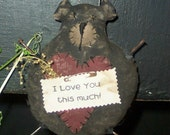 201e Primitive Bear  Valentine Day doll ornament epattern SALE immediate download