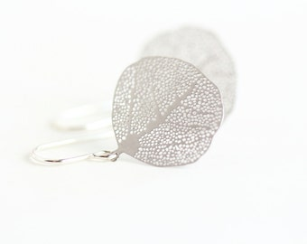 Gift For Women - Silver Leaf Earrings - Nature Earrings - Simple Leaf Earrings - Dangle Earrings - Leaf Jewelry - Gift For Her