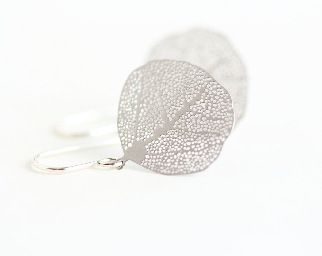 gift for silver leaf earrings nature earrings