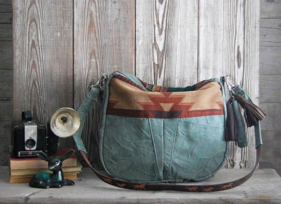 The TUNDRA Leather Bag /// slouchy blue leather bag with navajo southwestern fabric and tassel