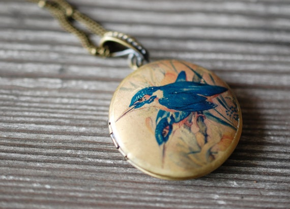 Vintage Inspired Blue Bird Locket with custom quote inside