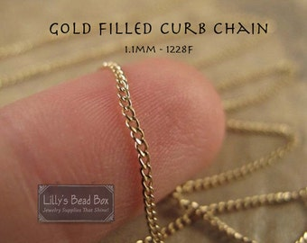 Thin Gold Chain, By The Foot, 14/20 Gold Filled 1.1mm Curb Chain, Small Chain for Necklace, Bracelet, Jewelry Making (1228f)