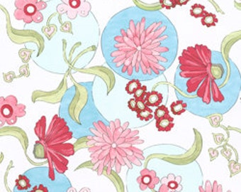 Flowering Around by Beach Garden Quilts & Studio for Clothworks, Blue Flower Circles, yard