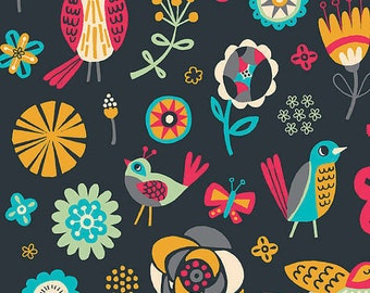 New from Camelot fabrics, Birds and Flowers in Graphite, 1/2 Yard