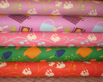 NEW, David Walker, Garden, Half yard combo of 5 fabrics