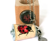 Ladybug Necklace - Birthday, Gardener, Lucky Necklace, Cork Jewelry in Test Tube and Cube, Red, Insect, Nature, Recycled by Uncorked