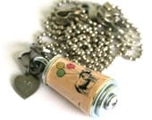 Party Rhino Necklace - Birthday Party Jewelry - Recycled Cork Jewelry in Test Tube -  Custom Stamped Initial Charm by Uncorked