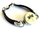 Dragonfly Bracelet, Dragonfly Jewelry, Gifts for Her, Wine Cork Jewelry, Nature Bracelet, Leather Bracelet, Custom Size & Initial, Uncorked