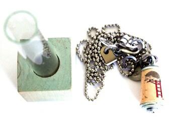 Hedgehog Necklace - Hedgehog Jewelry, Hedgehog Jewellery, Brave, Fearless Necklace, Cork, Porcupine, Custom Stamped Initial Charm - Uncorked