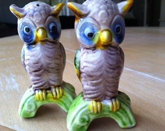 SALE Vintage Retro Alien Like Owls on Branches Salt and Pepper Shakers Antique Collectibles Figurines or Cake Toppers