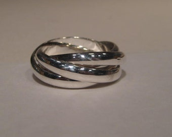 Built Guy Tough... Heavy Duty ... Guy Stuff ... 4 band Rolling  Ring ...  Sterling Silver ... Each Band is 4 mm Wide