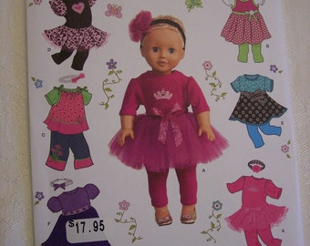 American Girl Doll Clothes Pattern, Doll Tutu Pattern, Doll Pillowcase Pattern, Simplicity 1711, 18 Inch Doll Clothes Pattern