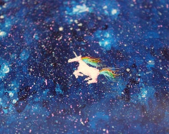 UNICORN In Space 4x4 painting coaster