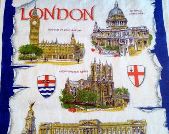 Vintage London Ulster Irish Linen Tea Towel With Scenic Landmarks LONDON England Souvenir