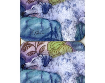 2 x coasters - English Setter dog - he's resting his eyes for a bit...