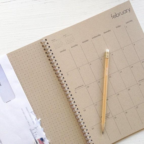 2014 large kraft monthly spiral planner