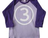 Kids THIRD BIRTHDAY Lavender + Purple Raglan T-shirt