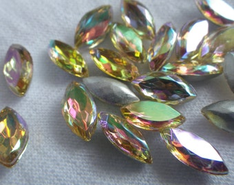 Jonquil AB Navettes Vintage Faceted 10x5mm Glass Gems 24 Pcs