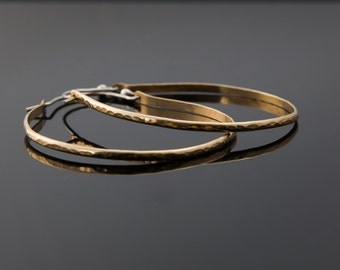 Gold hoop earrings, large hammered gold hoops, silver and gold bimetal hoop earrings