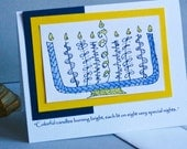 Handmade Hanukkah Card with Hand Drawn Menorah
